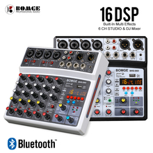 BOMGE Wireless 6 Channel Audio Mixer Portable Mixing Console USB Interface Sound Card With 16 DSP Echo 48V Phantom Power