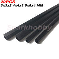 20PCS Carbon Fiber Square Tube 3x3x2MM 4X4X3MM 5X5
