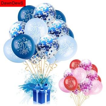 Globo de feliz cumpleaños 2 años Baby Shower niño niña látex globo de confeti globos de aire niño 2ª decoración de fiesta de cumpleaños niños