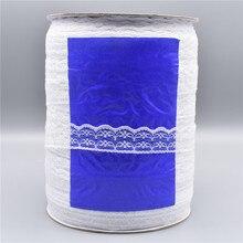 Commercio allingrosso 600yards/Roll Bianco Nastro di Pizzo Larghezza/22 millimetri Lace Trim Tessuto Ricamato Cucito Decorazione Africano Del Merletto tessuto Applique