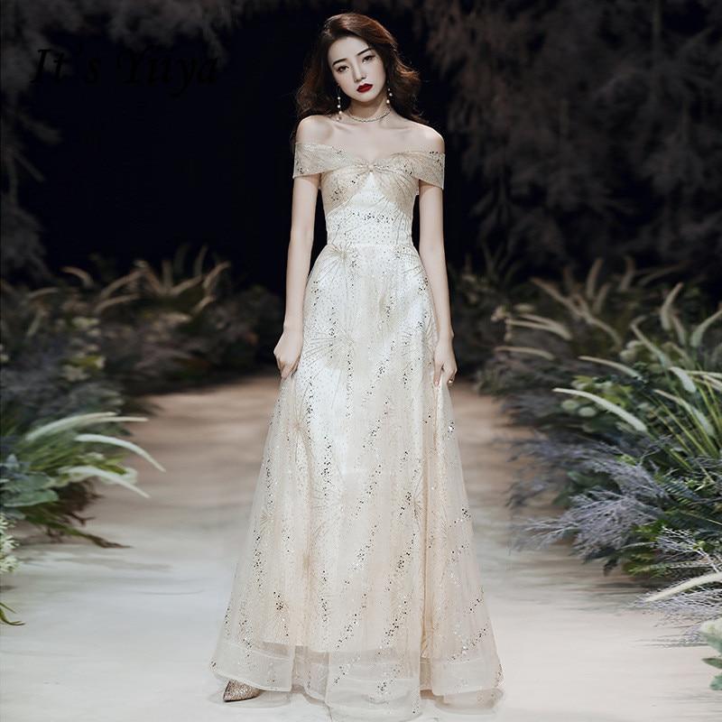 Boat Neck Robe De Soiree It's Yiiya R268 Elegant Crystal Pleat Formal Dresses Off  Shoulder Champagne Evening Gowns Long Dress