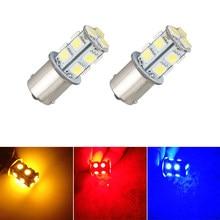 Luz de freio para seta 1156 s25 ba15s, luz branca de led para carro vermelha e vermelha, luzes de estacionamento r5w r10w 1141 5050 13smd lâmpadas reverso 12v 24v