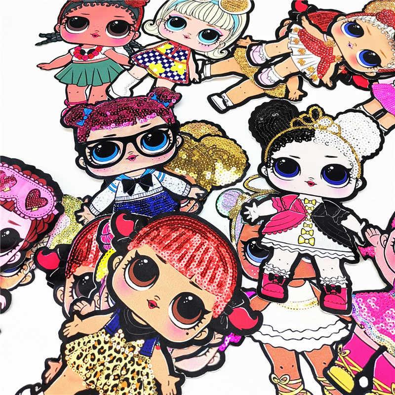 Parches LOL Surprise de dibujos animados de moda para chicas, bonita muñeca a la moda, parche bordado DIY, decoración de ropa, lentejuelas, pegatina de tela