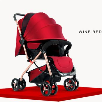 Baby stroller two-way can sit reclining ultra light portable folding 0/1-3 year old child four wheel bb baby umbrella car baby stroller can sit reclining two way high landscape summer ultra light portable folding child baby simple umbrella