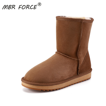 MBR FORCE New Fashion High Quality Real Sheepskin Leather Snow Boots for Women Shearling Fur Wool Lined Winter Shoes Large Size mbr force classic knee high sheepskin suede leather wool fur shearling lined winter boots for women snow boots shoes size 34 44