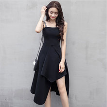 Spring and summer new style Irregular fashion dress Temperament little black dress Medium long solid color dress