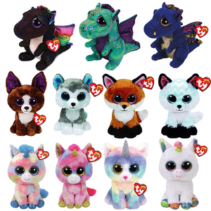 15cm Ty Stuffed Plush Toy Doll Big Eye Beanie Animals Cat Dog Owl Dragon Unicorn Fox Slick Soft Plush Toys With Tag Girl Gift