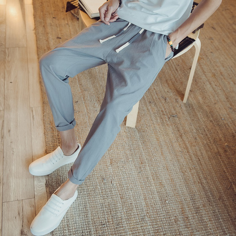 Special Offer Amount Of Running 2018 Summer New Style Cotton Linen Casual Pants Men Capri Pants Japanese-style Loose-Fit Solid C