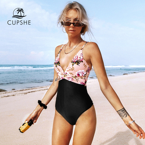 Image 4 - CUPSHE Pink Floral One Piece Swimsuit Women High Leg Cut Sexy Monokini Bathing Suits 2020 Gril Beach Bathing Suit Swimwear