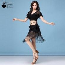 Adult Black Latin Dance Dress Short V Neck Crop Top Short Sleeve Tassel Dance Skirt Sexy Dress for Latin Dance Translucent New