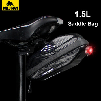 NEWBOLER 1.5L Hard shell Bicycle Saddle Bag Waterproof Cycling Panniers MTB Bike Rear Tool Bag Night Reflective Bike Accessories 1