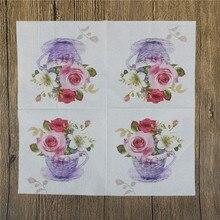 20Pcs/lot New Floral Flower Theme Paper Napkins Tissue Napkins Decoupage Decoration Festive Party Supplies 33x33cm