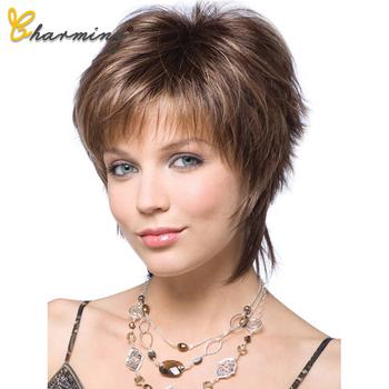 Urocze krótkie włosy peruka z naturalną grzywką fryzura Pixie z podkreśla syntetyczne krótkie proste fryzury dla białych kobiet tanie i dobre opinie CHARMING Wysokiej Temperatury Włókna CN (pochodzenie) Falista
