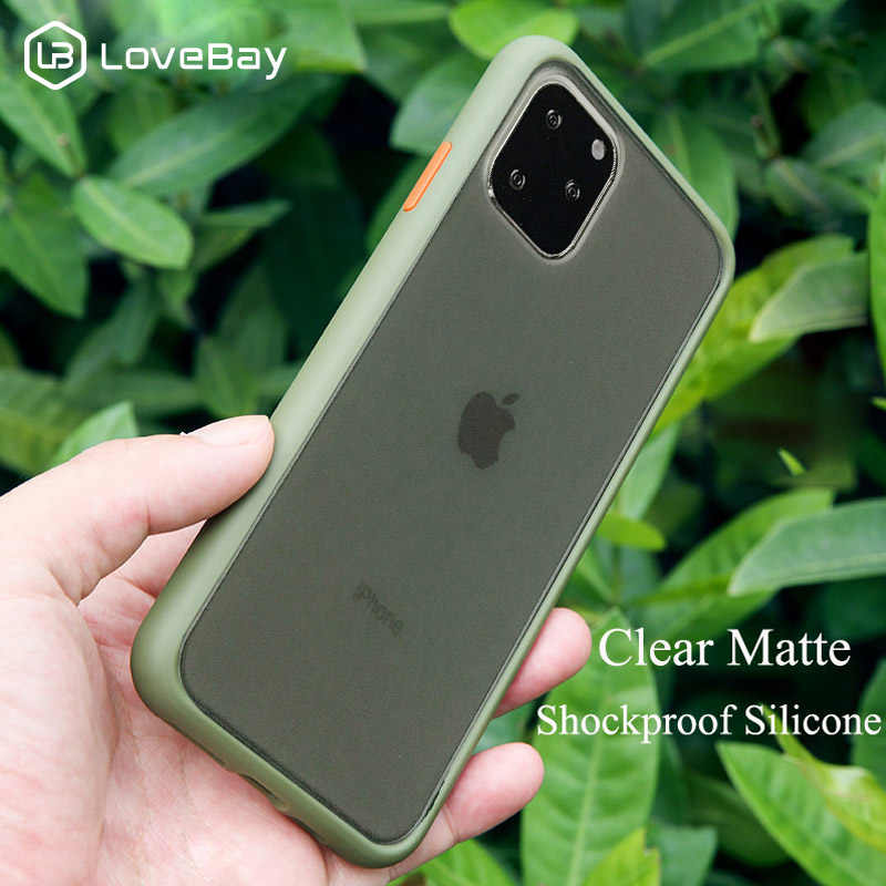 Lovebay Shockproof Transparan Hybrid Silicone Ponsel Case untuk iPhone 11 Pro X XR X MAX 7 8 PLUS 2019 Clear hard PC Back Cover