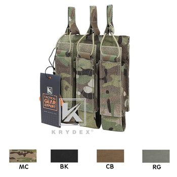 KRYDEX Tactical Modular Triple Magazine Pouch For MP5 MP7 KRISS MOLLE Open Top SMG Mag Carrier Airsoft Hunting - discount item  10% OFF Hunting