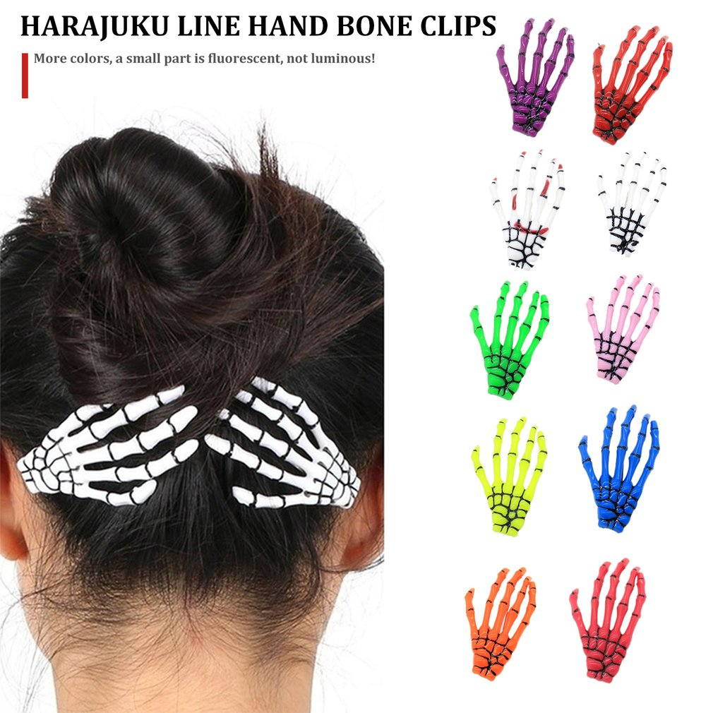 3Pcs Halloween Headwear Women Fashion Hair Accessories Skeleton Claws Skull Hand Hair Clip Hairpin Zombie Punk Horror Bobby Pins
