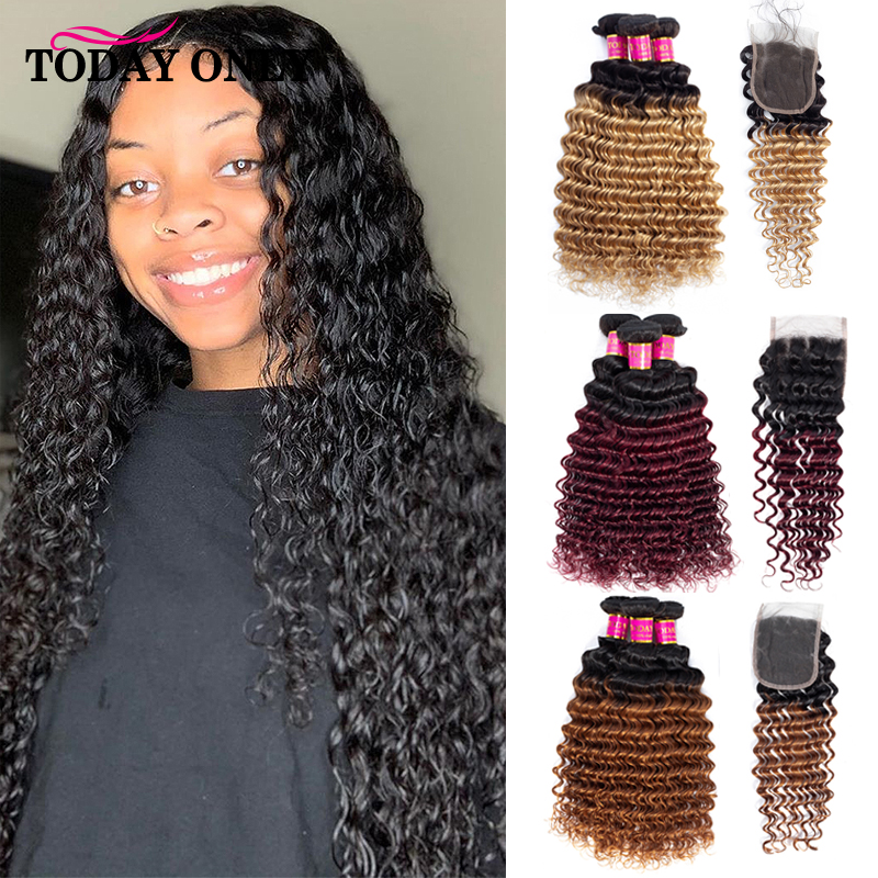 TODAY ONLY Blonde 3 Bundles With Closure Brazilian Deep Wave Bundles With Closure Remy Ombre Human Hair Bundles With Closure
