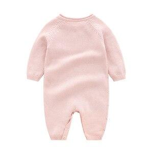 Image 3 - Baby strampler Strick Reiner Baumwolle Babys Kleidung Neugeborenen Baby Mädchen Stricken Wolle langen ärmeln herbst overall Strickwaren 0 24m