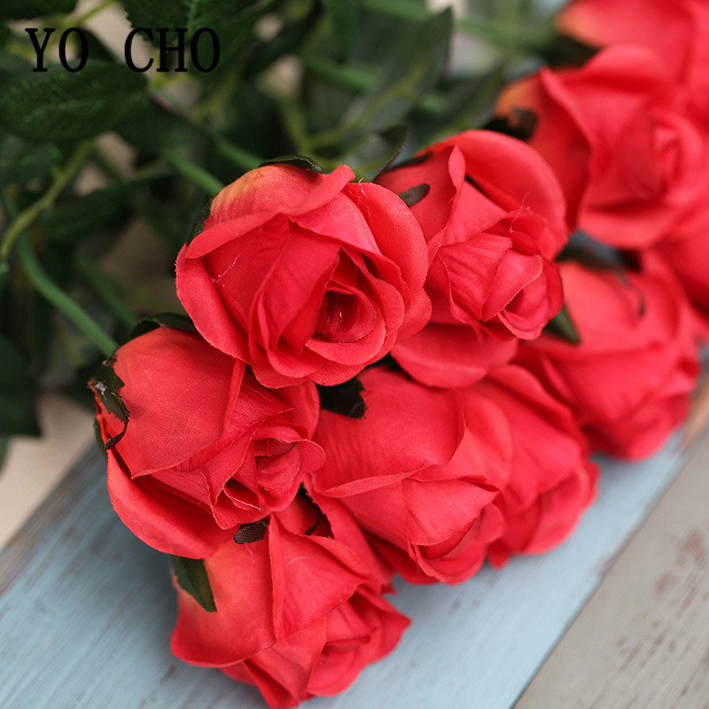 5 Pcs/lot Single Branch Silk Rose Artificial Decorative Flower Wedding Bridal Bouquet Flore Home Room Table Decor Red Fake Roses