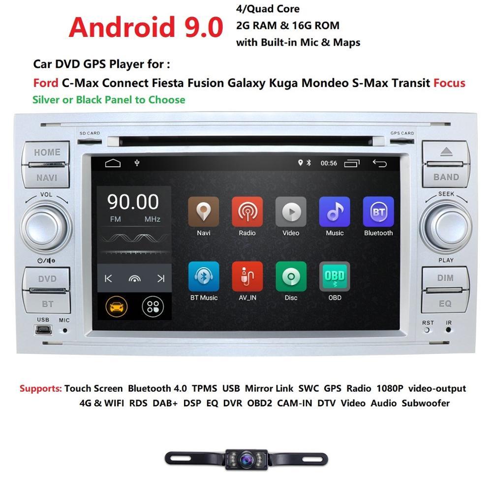Pure Android 9.0 voiture DVD GPS Navi lecteur stéréo Radio Audio 4G pour Ford Focus 2 Mondeo S C Max Fiesta Galaxy connecter avec caméra