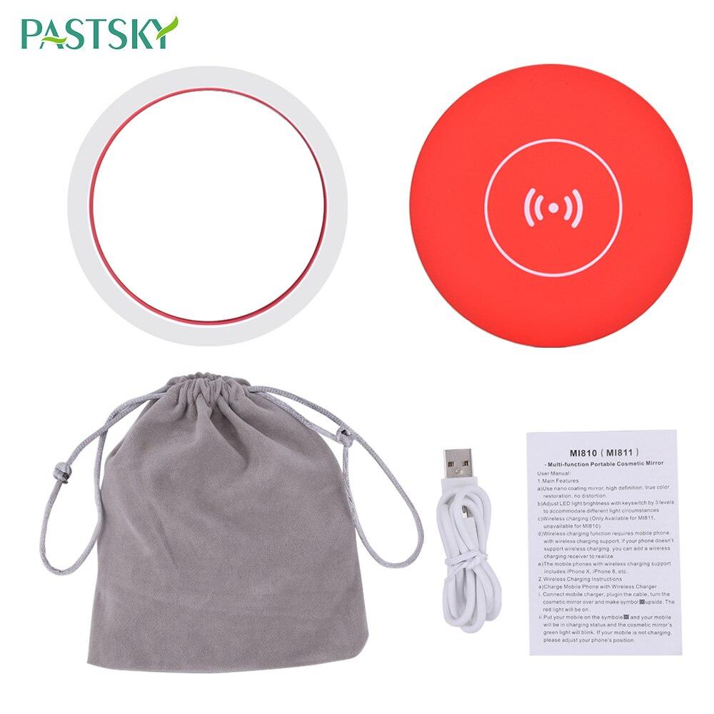 Portable LED Lighted Mini Circular Makeup Mirror Wireless Charging Adjustable 3 Brightness Compact Travel Lighting USB