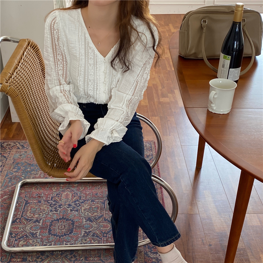 H5b762e705a054cf8a1cdfe83473b4725v - Spring / Autumn V-Neck Long Sleeves Lace Buttons Blouse