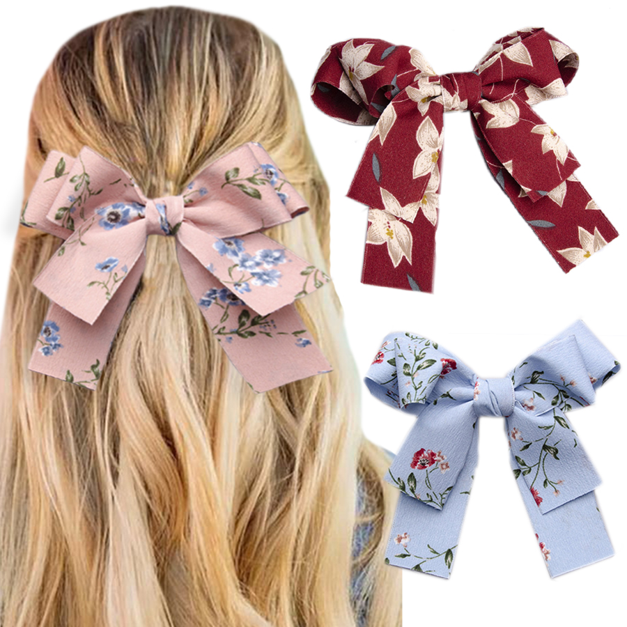 Haimeikang Women Print Hair Clip Two Layer Big Bow BB Clip Headwear Knotting Retro Spring Clip Hairpin Hair Accessories