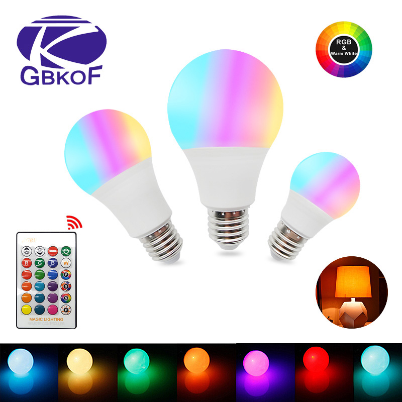 RGB LED Bulb GU10 E27 E14 LED Lamp light 3W 5W 7W 12W 16 Color 110V 220V bombillas Light+Control Dimmable ampoule Led for room