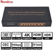 5 Port akıllı CEC HDMI zamanlama anahtarı 4K 60Hz 18 Gbps 5x1 HDR HDMI adaptörü Switcher IR uzaktan için Dolby DTS HD LPCM HDTV PS4