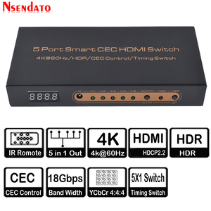 Image 1 - 5 Port akıllı CEC HDMI zamanlama anahtarı 4K 60Hz 18 Gbps 5x1 HDR HDMI adaptörü Switcher IR uzaktan için Dolby DTS HD LPCM HDTV PS4