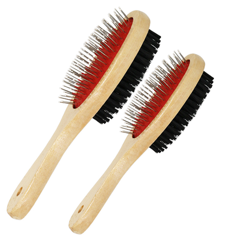 1PCs Double-sided Pet Comb Big Dog Brush Beauty Comb for Cats Dogs Hair Removal Soft Brush Wooden Pet Comb Grooming Dog Supplies