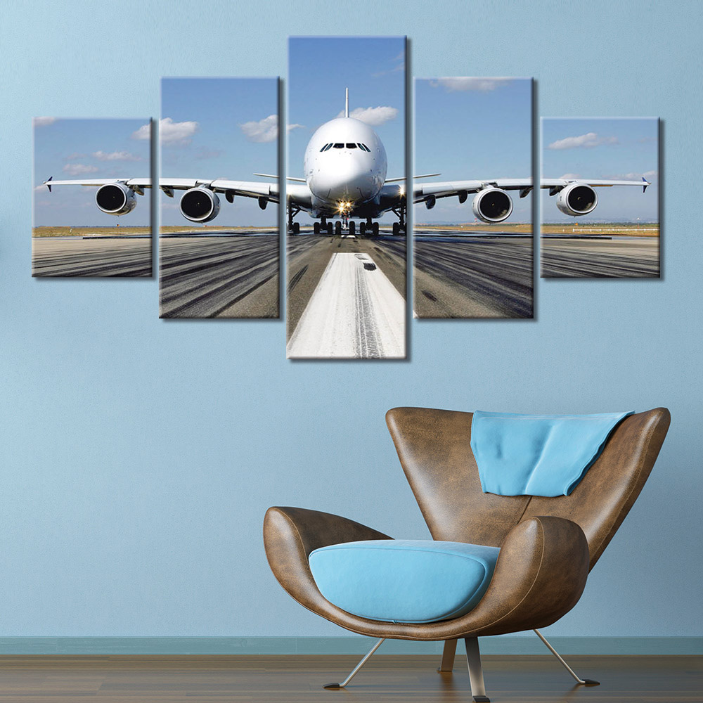 Canvas Wall Art Painting aircraft Airplane Art Print Poster Wall Decoration Home Decor 5 Panel Picture image