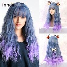 """Inhair Cube средняя часть 2"""" омбре длинные кудрявые парики с челкой синтетические термостойкие моделирования головы косплей для женщин"""