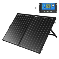 SUNGOLDPOWER 130W Foldable Solar Panel Suitcase 12V Monocrystalline Solar Cell Solarpanel with Solar Charge Controller for RV
