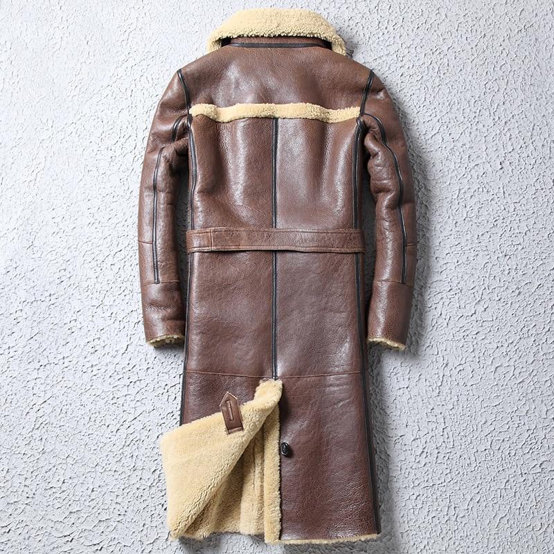 Natural Sheep Shearling Jacket Men Winter Genuine Leather Jacket Mens Real Fur Coat Long Vintage Sheepskin Coat Wp17a383