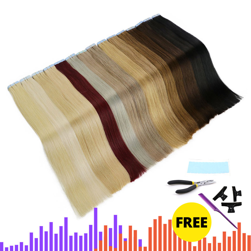 MRSHAIR 6# Skin Weft Human Hair Straight  Tape In Extension Machine Remy Hair Double Sided Tape Hair Kits 16