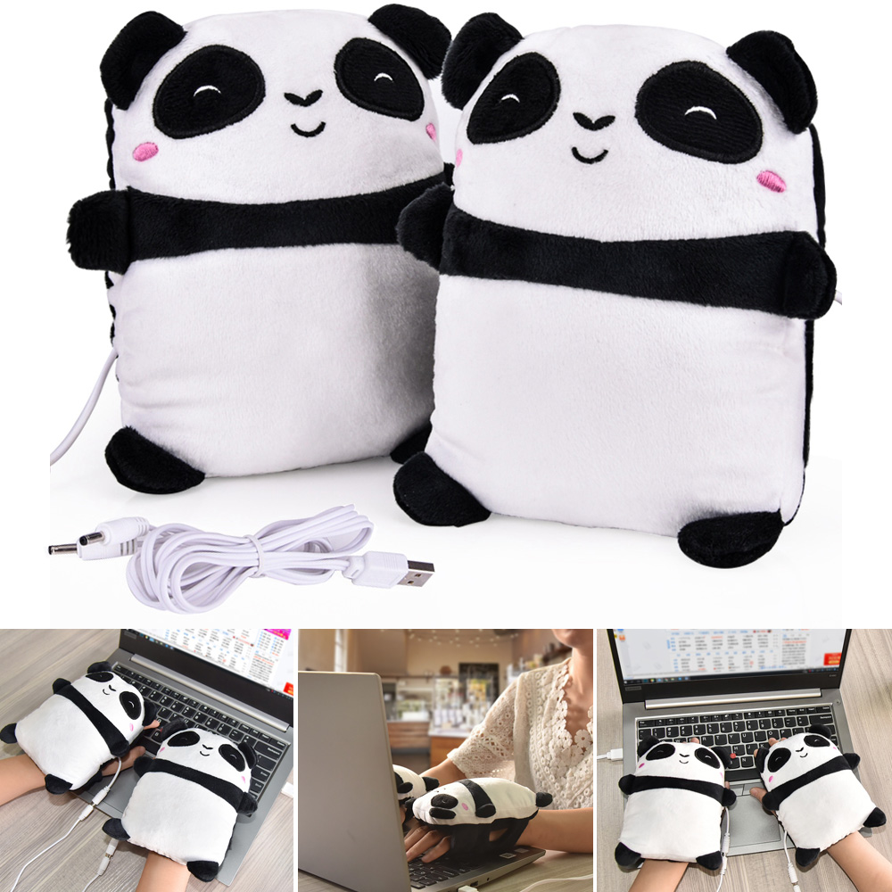 1Pair USB Hand Warmers Heated Glove Electric Heating Winter Gloves Fingerless Cute Panda Shape Office New Year Christmas Gifts