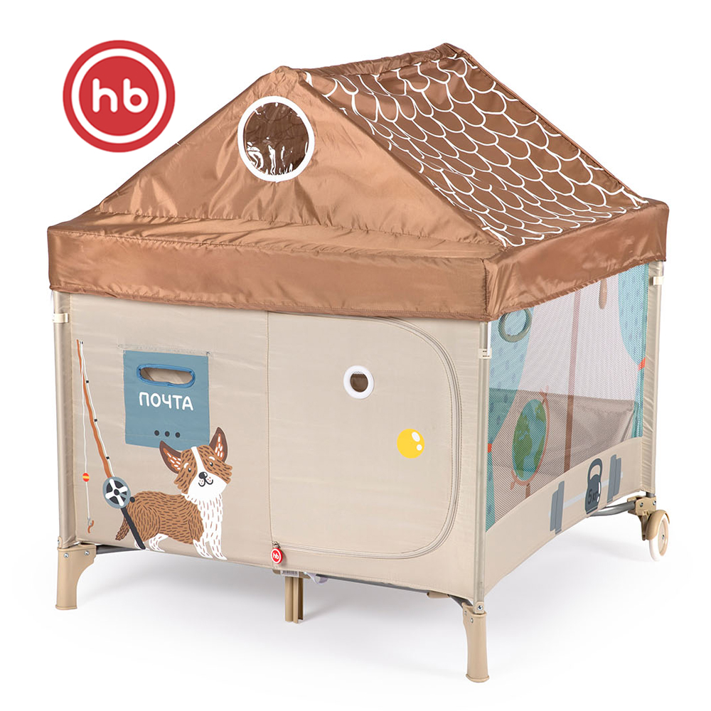 Baby Playpens Happy Baby Alex Home Playpen Manege CRIB For Children For Babies Fencing BROWN Metal Brown