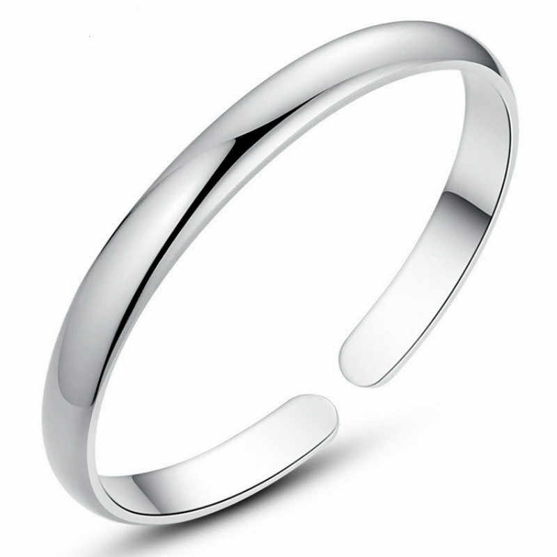 Simple Fashion 925 Sterling Silver Smooth Cuff Bracelets & Bangles For Women Pulseras Valentine's Day Present