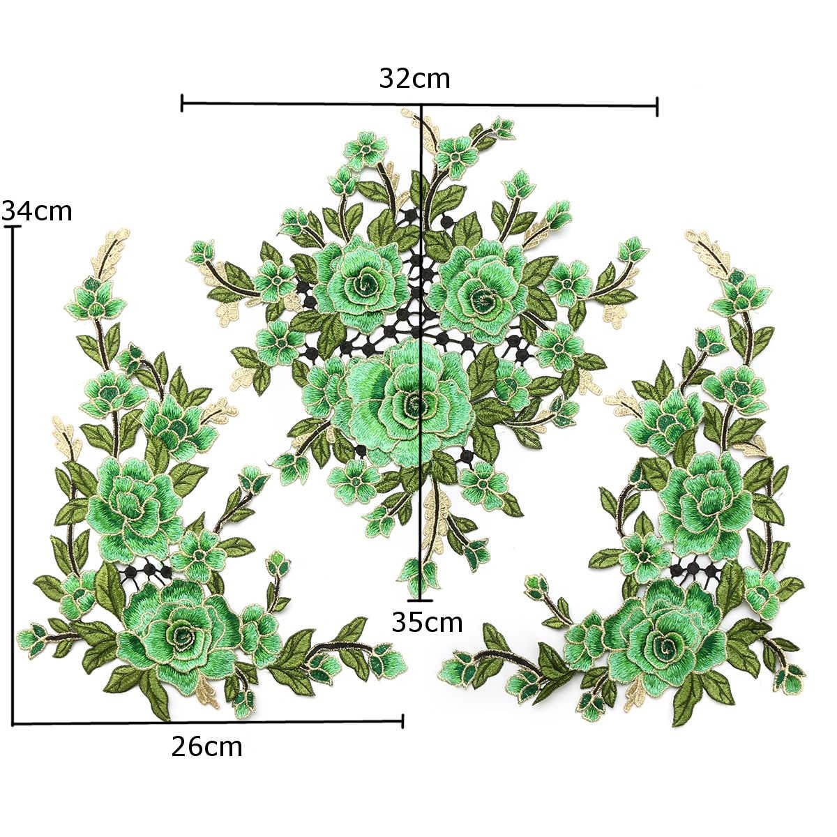3 unids/set 3D Rosa Parches con bordados de flores pegatina Para La Ropa Parches Para La Ropa apliques bordados Parches Para Cheongsam