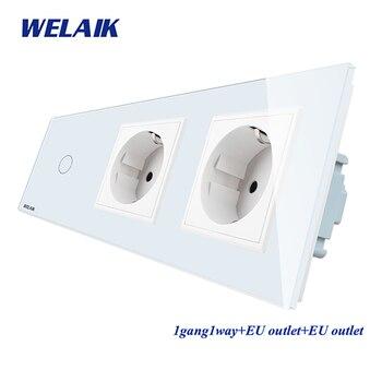 цена на WELAIK 3Frame-Crystal-Glass Panel-Wall Switch-EU Touch-Switch-EU  Wall-socket 1gang-1way AC250V A39118E8ECW/B