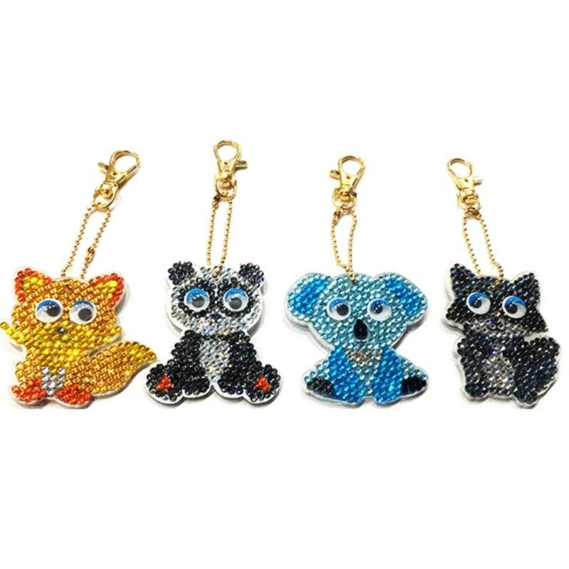 Cartoon Animal Painting Diamond Keychain Keyring Pendent Decor DIY Kids Toy Gift
