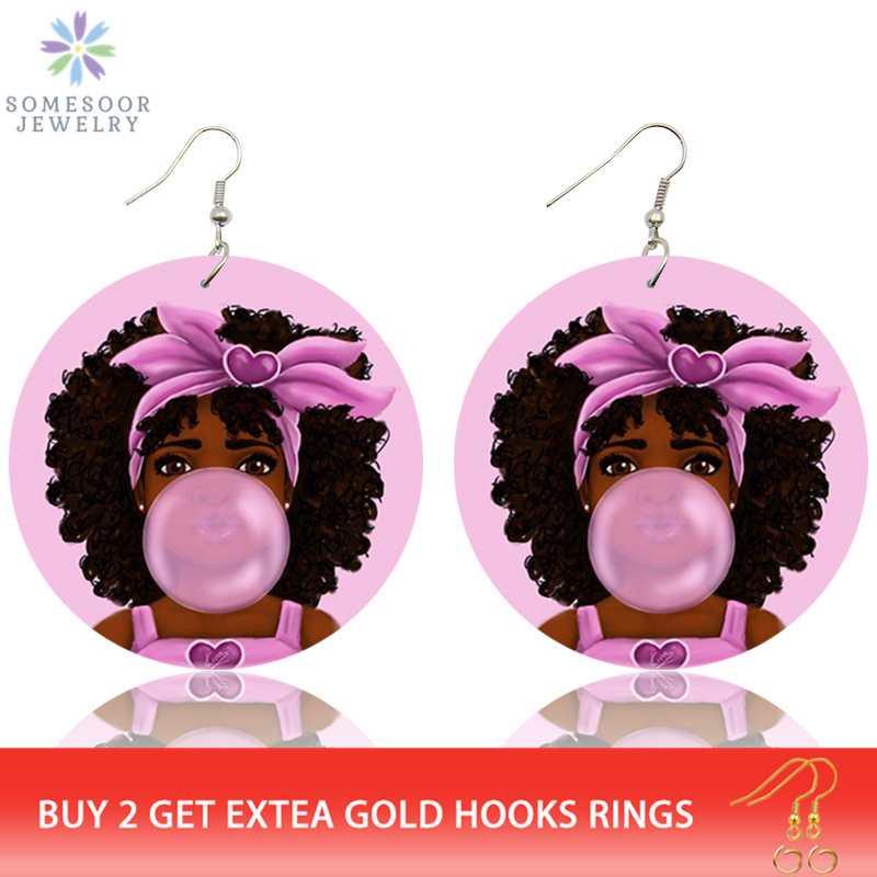 SOMESOOR Lovely Pink Afro Girl Bubble Gum Wooden Drop Earrings African Black Natural Hair Hiphop Dangle Jewelry For Women Gifts
