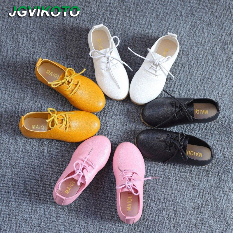 JGVIKOTO 2020 Hot New Spring Summer Girls Shoes Soft PU Leather Casual Flats For Kids Lace-up Children Sneakers Candy Colors