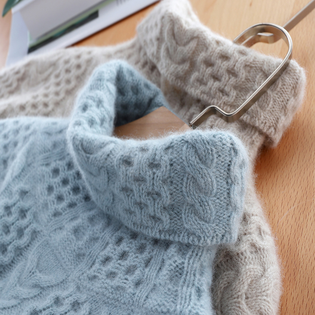 2019 nova moda dupla engrossar solto gola alta suéter de caxemira feminino manga longa camisola de malha sólido pullovers