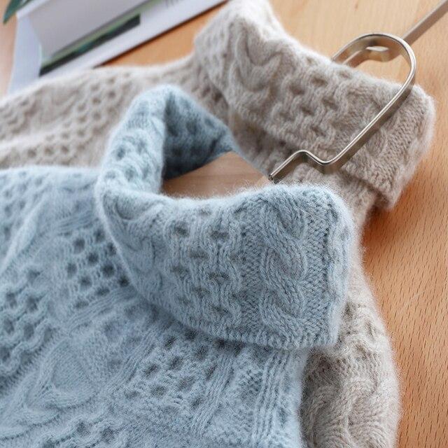 2019 새로운 패션 더블 thicken 느슨한 터틀넥 캐시미어 스웨터 여성 긴 소매 니트 스웨터 솔리드 풀 오버 여성 탑스