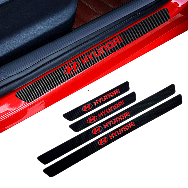 Car-Styling 4PCS Carbon Fiber Door Sill Carbon Fiber Sticker Decals For Solaris Ix35 I20 I30 I40 HYUNDAI Tucson CRETA Santa