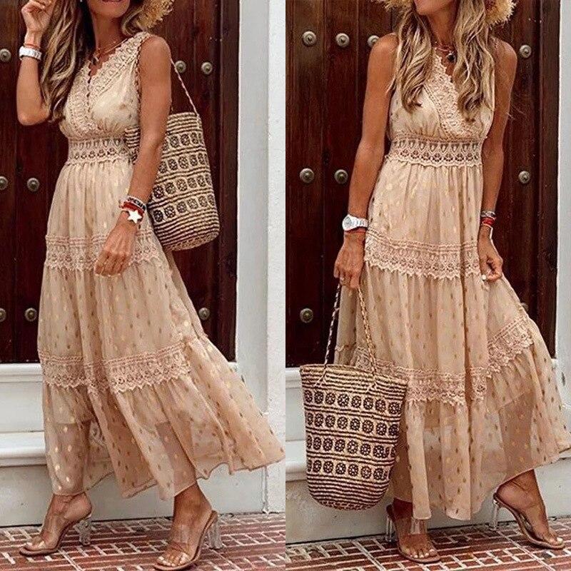 Sexy Deep V Sleeveless Chiffon dress Loose Summer Bohemia Beach Long Dresses