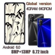 6.72 polegada a40 smartphones 4g ram + 64g rom quad core 8mp + 13mp hd frente/câmera traseira telefones celulares android celuares face id desbloqueado