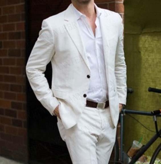 ANNIEBRITNEY Latest Coat Pant Designs Ivory Linen Casual Men Suit 2019 Summer Beach Tuxedo Simple Custom Groom Suits Set Blazer